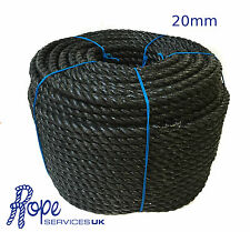 Black Poly Rope Coils, Polyrope, Polypropylene, Camping, Tarpaulins, 20mm x 30m