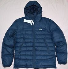$295 New 54 XL 7 Lacoste Men's puffer Down winter Jacket Navy blue coat hood