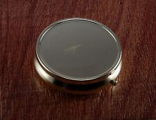 """VINTAGE GOLD TONE SMALL ROUND PURSE SIZE PILL BOX CASE 1 3/4"""" 3 COMPARTMENTS NOS"""