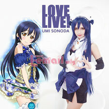 LoveLive! Love Live Sonoda Umi Blue Black 80cm Long Straight Hairs Cosplay Wigs