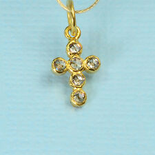 6.6x11mm 18k Solid Yellow Gold Rose Cut Champagne Diamond Cross Charm Pendant