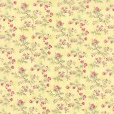 coupon de tissu patchwork MODA Toutes Petites Fleurs sur fond Jaune 45x55cm