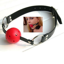 Adult Black PU Leather Red ABS Mouth Ball Gag Mouth Stuffed Adult Game Toy Hot