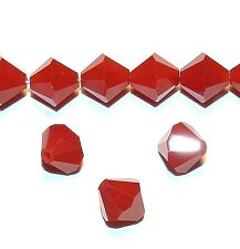 SCB610f DARK RED CORAL Opaque Faceted Bicone 8mm Swarovski Crystal Beads 12/pkg