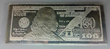 $100 BEN FRANKLIN 4 OZ. .999 FINE SILVER Bar Silver Bill
