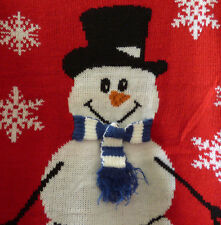Ugly Christmas Sweater Party in July NEW S Red Snowman with Blue Striped Scarf