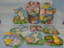 Vintage Used Beistle Company 1993 Set Easter 2 sided Decorations* 9pcs