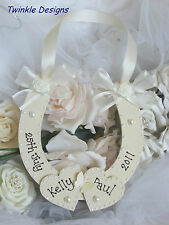Personalised wooden horseshoe Wedding  bridal keepsake shabby chic gift