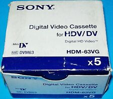 NEW SEALED LOT OF 5 SONY HDV / DV CAMCORDER DIGITAL VIDEO CASSETTE TAPE HDM-63VG