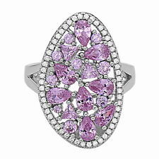 Sterling Silver Fashion Cocktail Ring with White & Pink CZ, Size 7