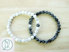 Couple Snowflake/Howlite Natural Gemstone Bracelet 7-8'' Elasticated Healing