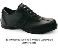 MENS S3 LEATHER LIGHTWEIGHT COMPOSITE NON METAL TOE CAP SAFETY WORK SHOES BOOTS