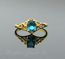 Great Gift Blue Love Heart Womens Girls Ladies  Ring Yellow Gold GP Size 7.5