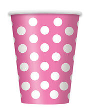6 x Pink & White Polka Dots Spots Paper Cups Hawaiian Party BBQ Summer Party