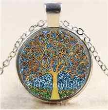 klimt tree of life Cabochon Glass Tibet Silver Chain Pendant  Necklace#2358