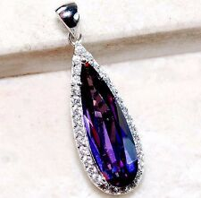 3CT Amethyst & White Topaz 925 Solid Genuine Sterling Silver Pendant