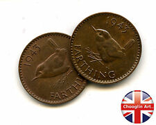 A pair of 1943 British Bronze GEORGE VI FARTHING Coins