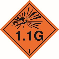 "Health and safety Hazard sticker Explosive 1.1G sticker 5"" orange"
