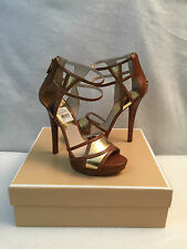 Michael Kors Jaida High Spike Heel Sandal Platform Peep Toe Luggage Gold 9 M
