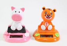 Pig & Orange Tiger Sitting on Log Chinese Zodiac Dashboard Home Gift Solar Toy