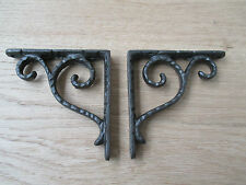 "4"" ANTIQUE VINTAGE SCROLL HAMMERED BRACKETS CAST IRON SHELF BRACKET WALL MOUNTED"