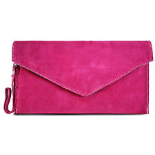 Ladies Real Italian Suede Leather Clutch Celebrity Evening bag