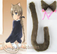 Coffee Anime Cosplay Party Long fur Neko cat ears cat + tail Clip Ear with bell