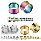 Pair Flared Stainless Steel Hollow Ear Expander Plugs Flesh Tunnel Stretchers