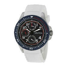 Nautica NSR 200 Blue Dial Multi-function White Silicone Mens Watch N13683G