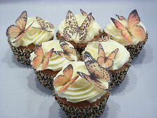 Edible Cake Decorations Butterfly Topper Brown & Gold Butterflies Cupcake Icing