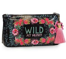 Gypsy Rose Wild At Heart Papaya Art Makeup Cosmetic Bag Vegan Friendly Tassel