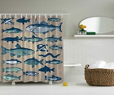 Blue Fish Nautical Sea Ocean Beach Fabric Shower Curtain Digital Art Bathroom