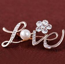 LOVE Fashion Rhinestone Crystal flower Brooch Pin jewelry Bridal Wedding Gift