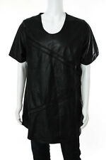 En Noir Mens Black Leather Pin Tuck Shirt Size 2 Extra Large New 85262
