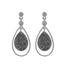 Sterling Silver Single Teardrop Gray Druzy Dangle CZ Earrings
