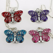 Mixed Color 8pcs Cute Crystal Butterfly Ladies Pendant Necklace Watch GL36M8