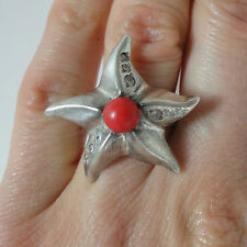 Red Coral Ring size S Starfish Ring Oxidised Sterling Silver Ring with Coral 925