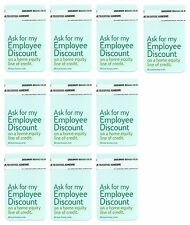 (10) ASK FOR MY EMPLOYEE DISCOUNT self-adhesive tag labels, Bank Home Equity