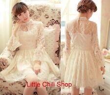 Pretty Kawaii Princess Cute Sweet Dolly Lolita Slim Long Sleeve Lace Dress
