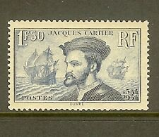 """FRANCE STAMP TIMBRE N° 297 """" JACQUES CARTIER AU CANADA 1F50 BLEU """" NEUF xx TB"""