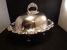 Vintage Sheffield Reproduction Ornate  Covered Vegetable dish bowl FOOTED  NICE