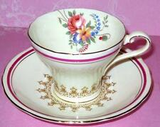 AYNSLEY CUP AND SAUCER ROSE FLORAL BOUQUET CORSET SHAPE.VINTAGE TEACUP 1920's