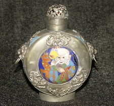 Seltenes alte Snuff Bottles, mit Vögel & Tier-Statue, aus Türkis & Silber