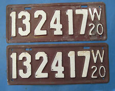 1920 Wisconsin license plates matched pair