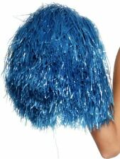 A ADULT CHEERLEADER FEMALE LADIES GIRLS FANCY DRESS COSTUME BLUE POM POM