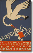 Expecting? Stork Baby Mom  WPA Vintage Art Print POSTER