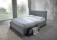 New Fabric Queen Bed with 4 Drawers Storage Bed Flat Slats in Grey LIMITED STOCK
