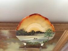 Natural Viewing Stone Suiseki Gobi Desert Agate Slice Painting Landscape River