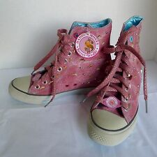 Daddy'$ Money Secret Wedge Sneakers High Tops Pink Gold Studs Ladies Sz. 8 NWT