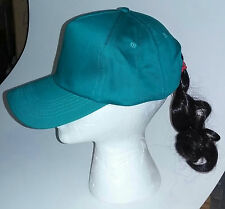 Teal Adjustable Novelty Baseball Cap with Attached Dark Brown Ponytail Hair Hat